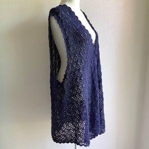 Plus Size Vintage Crochet Tunic Sweater Vest Navy